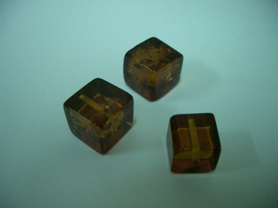 Cognac color cube loose amber beads (drilled)
