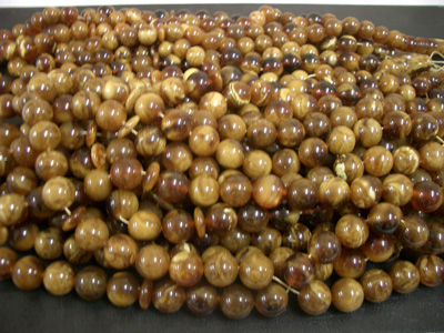Chololate color loose round amber beads (drilled)