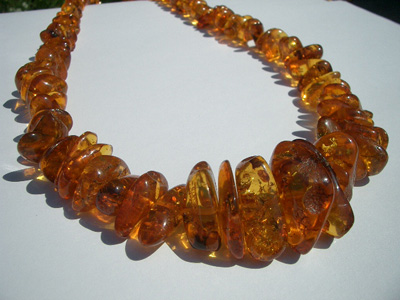 Amber chip necklace - polished amber chips - baltic amber polished chips