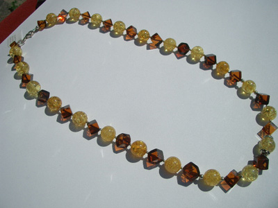 Amber mix beads necklace - cube and round beads