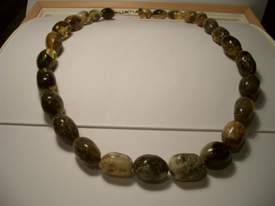 Polished raw amber necklace (raw amber beads)