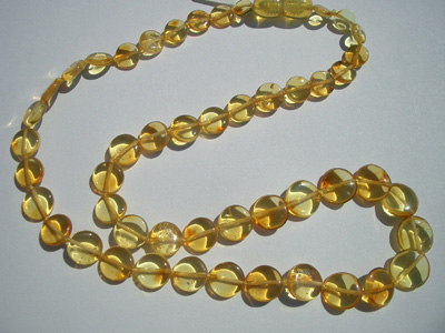 Baby teething necklace - amber beads - lemon colot tablet beads - baby teething remedy