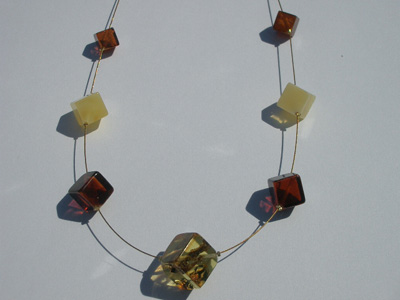 Amber rain necklace - polished cube amber beads