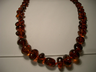 Amber necklace (polished baroque beads)