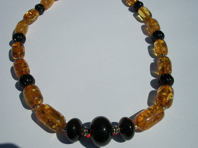 Amber beaded necklace - amber bead mix