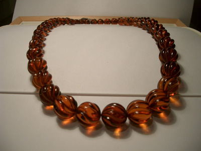 Cognac colour amber necklace (spiral cut beads)