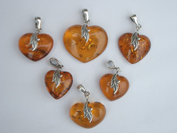 Amber heart pendants