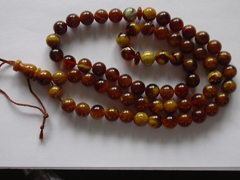 Chololate amber rosary 33 or 66 round Baltic amber beads