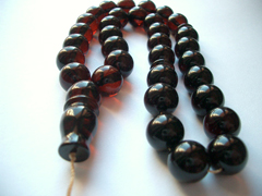 Dark cherry color amber rosary - looks almost black rosary